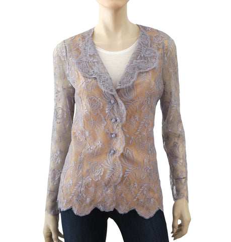 VALENTINO Chantilly Floral Lace Jacket/Top, M