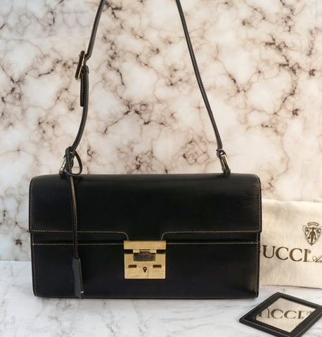 GUCCI Vintage Black Leather Kelly Shoulder Bag Clasp Lock Closure Key Clochette