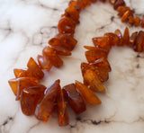 Antique Russian AMBER NECKLACE Butterscotch Nuggets 98gr 32 inches
