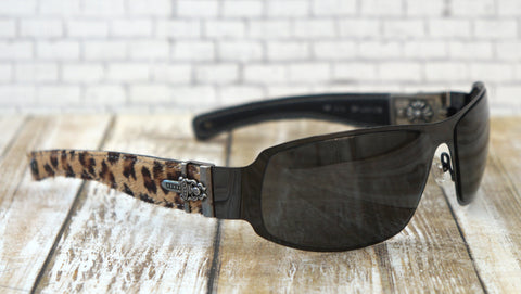 CHROME HEARTS Sunglasses Women's Deviant II Black Metal Frames Cheetah Print