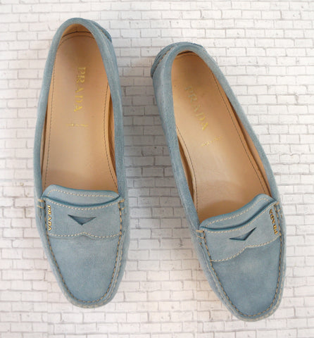 PRADA 37 Light Blue Suede Rubber Sole Driving Loafers Mocs 7 MINT Worn 1x