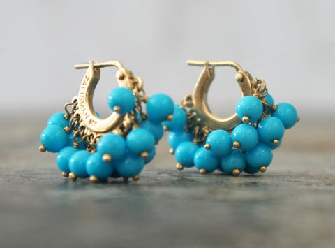 TALISMAN 14K Turquoise Double Fringe Baby Hoop Earrings 6 gr