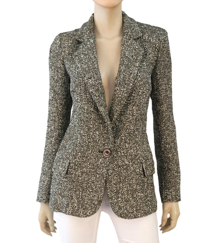 EMANUAL UNGARO Black White Cotton Boucle Tweed Blazer Jacket 38 US 6