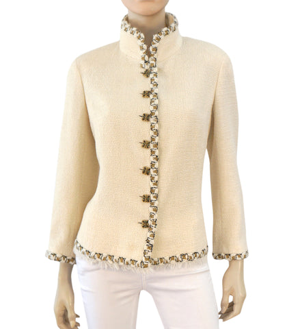 CHANEL Ivory Boucle Braid Trim Mock Neck Button Front Jacket Blazer 46 US 14