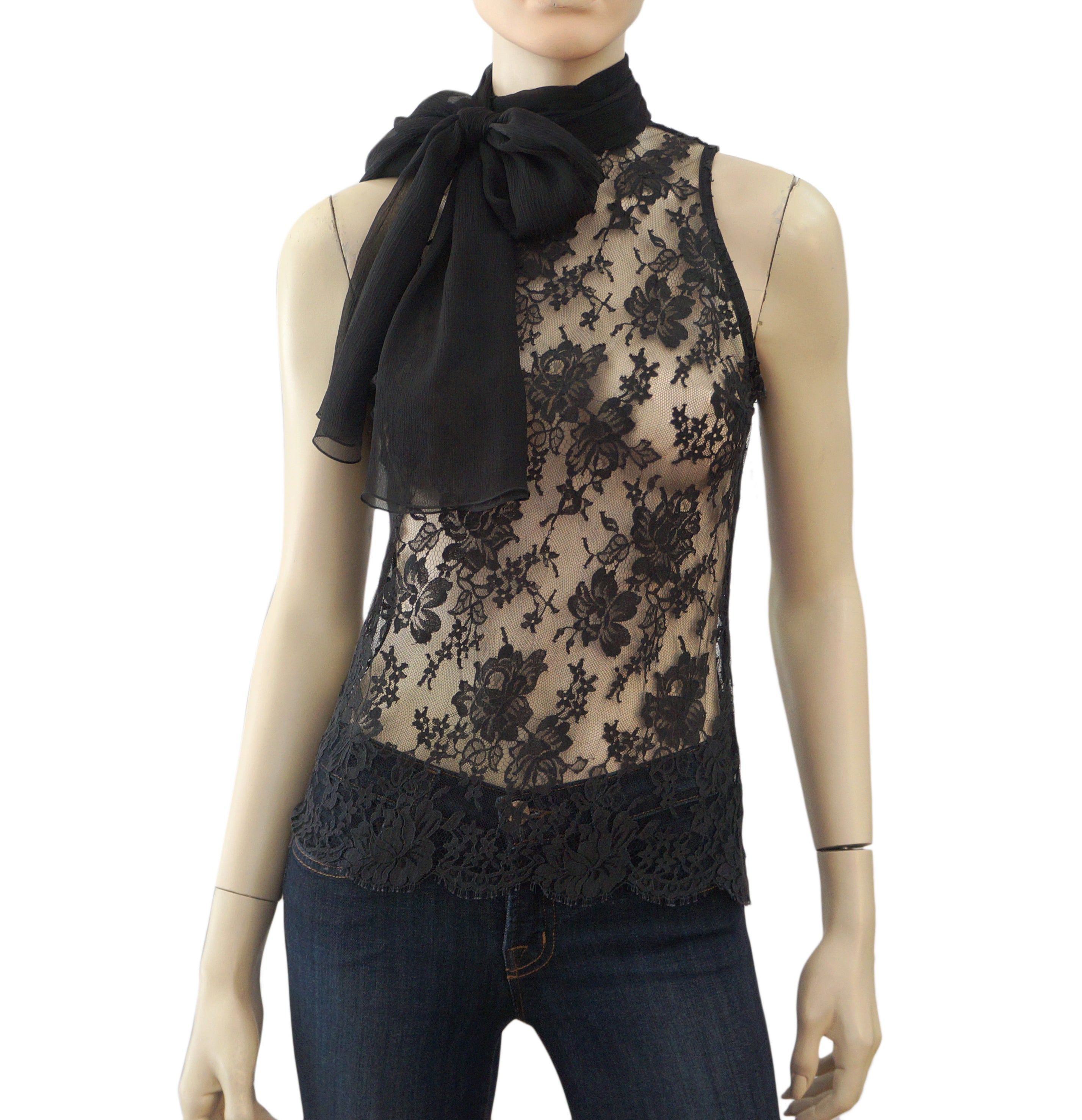 f4d6ea721c80fb LORENA CONTI Sleeveless Black Stretch Lace Scarf Tie Blouse Top ...