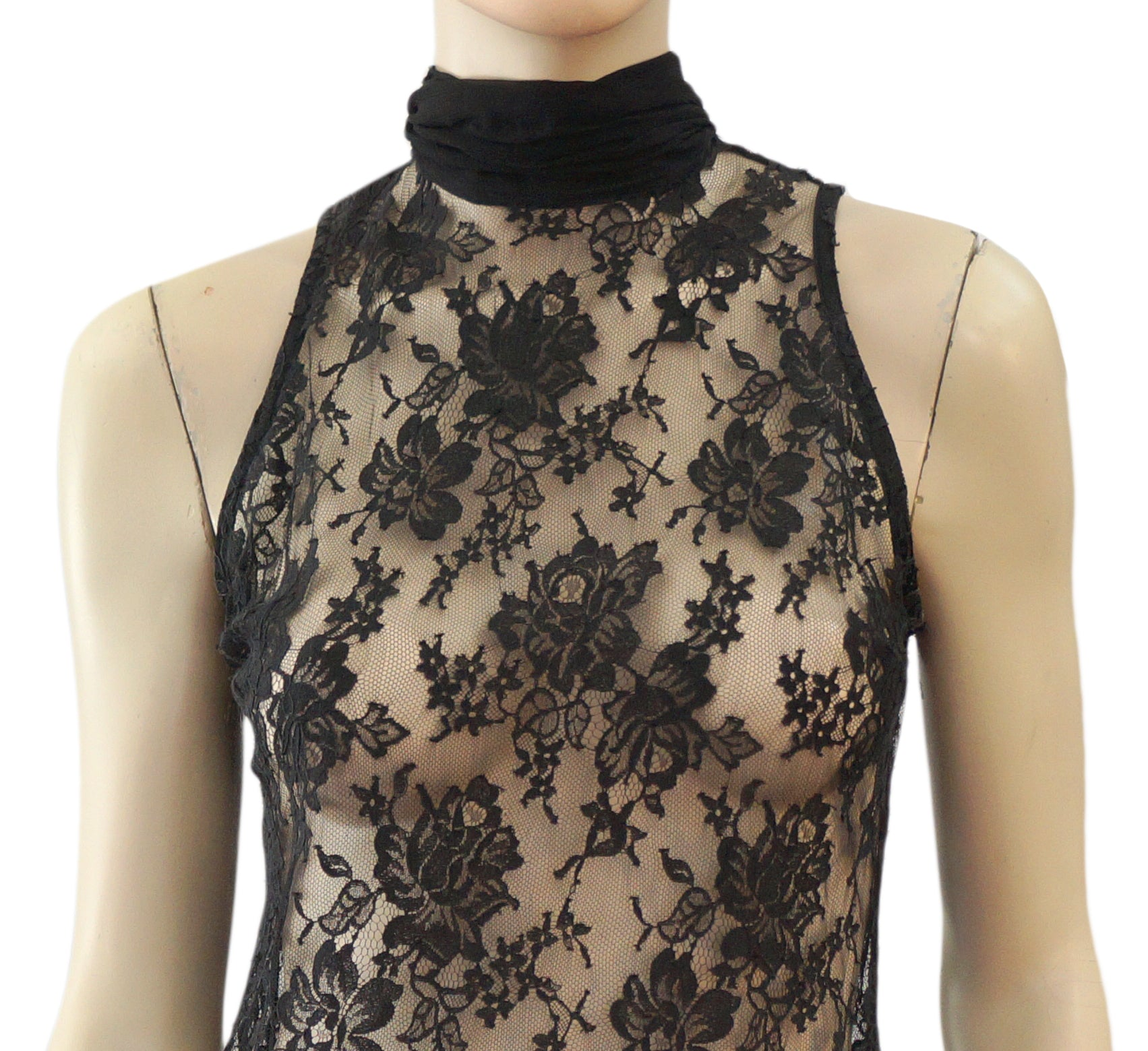 5c5d3541d70889 LORENA CONTI Sleeveless Black Stretch Lace Scarf Tie Blouse Top – LaLaStyle
