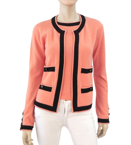 CHANEL 96A Vintage Peach Coral Cashmere Black Trim Twinset Sweater Set US 2 4