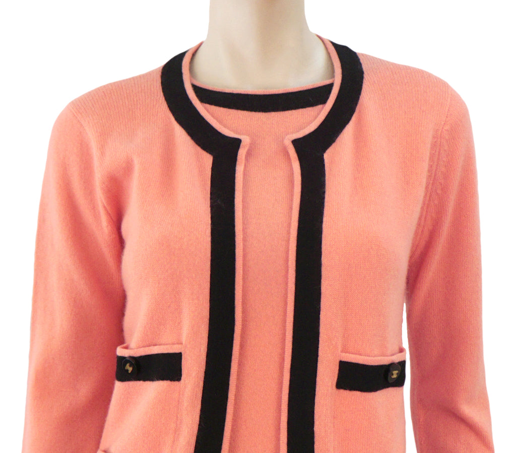 bb257cadcb7 CHANEL 96A Vintage Peach Coral Cashmere Black Trim Twinset Sweater ...