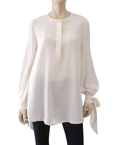 GIVENCHY Ivory Off White Silk Crepe de Chine Tie Sleeve Blouse Tunic 46 US 12