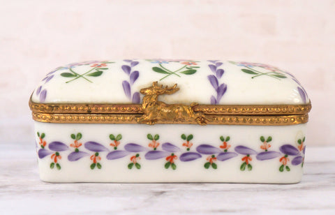 LIMOGES FRANCE Peint a la Main Floral Trinket Box Stag Deer Clasp