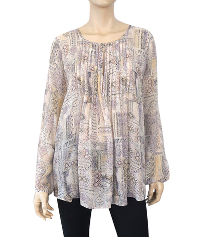CALYPSO ST. BARTH Long Sleeve Printed Silk Blouse Pleated Top M BRAND NEW