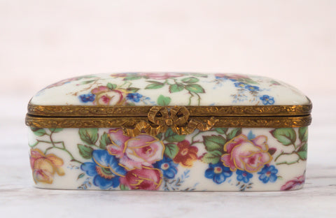LIMOGES FRANCE Rehausse a la Main Floral Porcelain Trinket Box