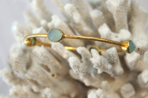 ELYSSA BASS 18k Gold Vermeil 925 Four Station Moonstone Bangle Bracelet M