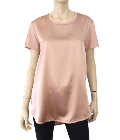 RALPH LAUREN COLLECTION Rose Pink Silk Jersey Combo T-Shirt Top L