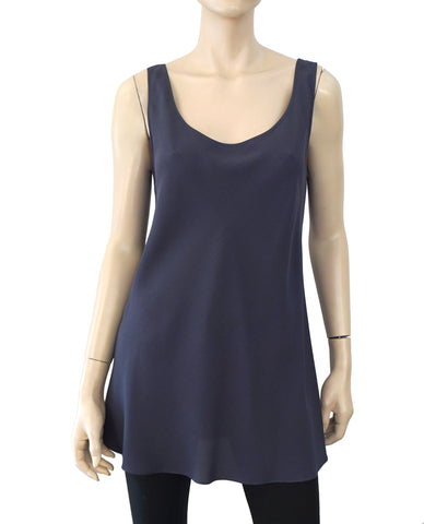 PETER COHEN Sleeveless Long Line Scoop Neck Blue Crepe Tank Top M NEW