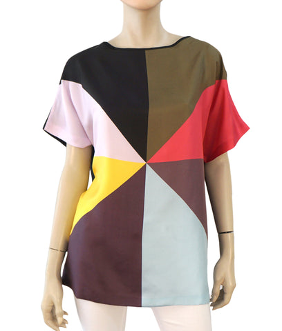 CYNTHIA ROWLEY Oversized Multicolor Colorblock Silk Faille Tee Top M NEW