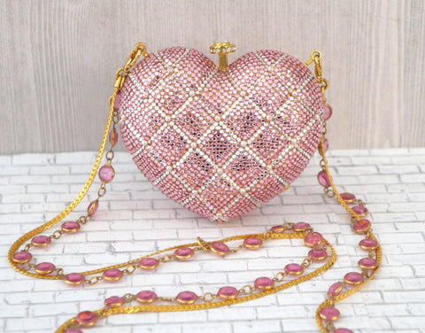 KATHRINE BAUMANN Quilted Pink Heart Minaudiere Clutch Jeweled Strap Evening Bag
