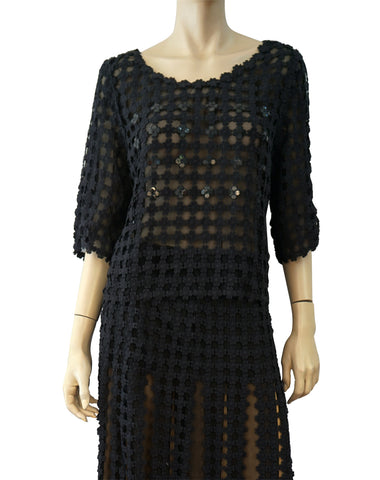 OSCAR DE LA RENTA Black Daisy Chain Cotton Crochet Top and Skirt Set 16 NWT