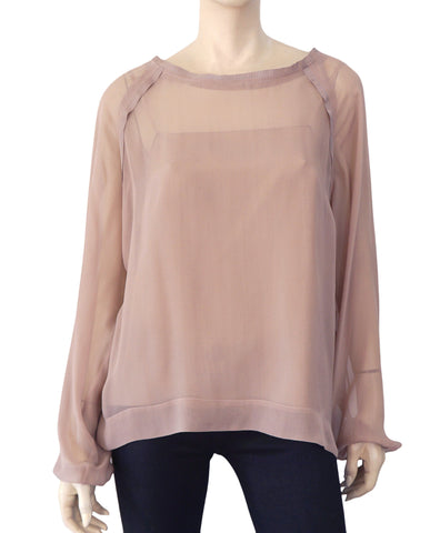 LANVIN Grosgrain Trim Dusty Rose Silk Chiffon Long Sleeve Blouse Top 40 US 8
