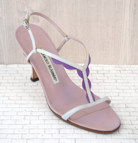 MANOLO BLAHNIK 36.5 White Purple Leather T-Strap Sandals Open Toe Heels 6