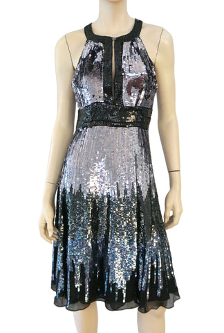 DIANE VON FURSTENBERG Sleeveless Ombre Sequin Wrap Dress S RARE