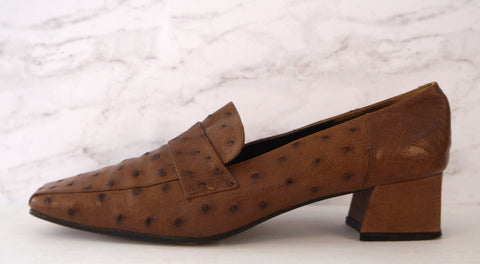 KWANPEN 39 Brown Ostrich Leather Square Toe Loafer Pumps Heels 8.5
