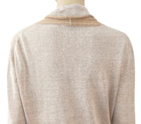 ADOLFO DOMINGO Long Sleeve Fluid Linen Cowl Neck Sweater Top PS NEW