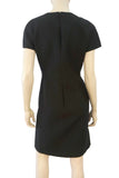VALENTINO Black Wool Silk Crepe Pleat Front Sheath Dress 8 NEW
