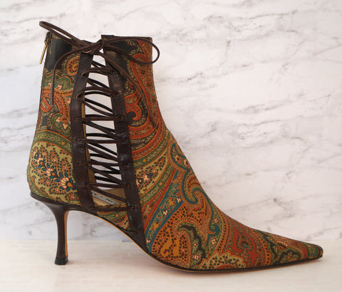 JIMMY CHOO 40 Paisley Print Wool Twill Leather Heel Ankle Boots Booties 9.5 NIB