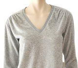 AMO Gray Deep V-Neck Velour Sweatshirt Top NWT $175 Ret