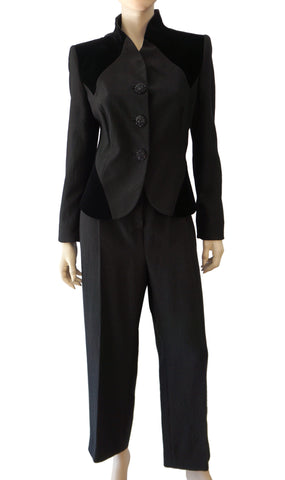 GIORGIO ARMANI BLACK LABEL Metallic Black Crepe Velvet Suit Jacket 46 Pants 50