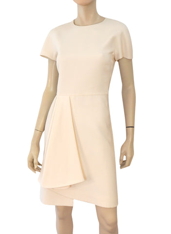 VALENTINO Ivory Wool Silk Crepe Pleat Front Sheath Dress 8 NEW