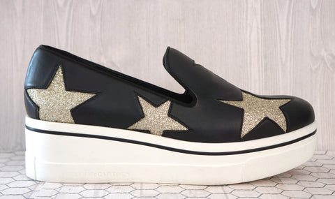 STELLA MCCARTNEY 40 Binx Star Black Slip On Platform Sneakers Shoes 9.5