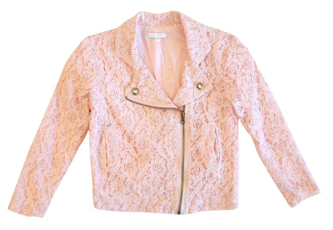 MISS GRANT 3/4-Sleeve Pink Lace Biker Motorcycle Jacket Girls 10