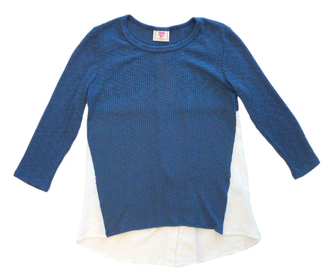 H.I.P. Girl's Long Sleeve Blue Split-Back Top M NEW WITH TAGS