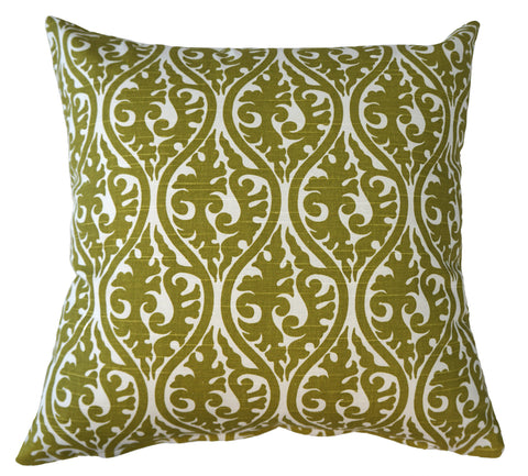 THE WELL DRESSED BED Green White Printed Kimono Olive Accent Pillow WITH INSERT