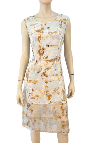 ALL SAINTS Fleur Check Watercolor Silk Midi Dress 14 US 10