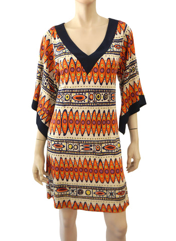 TRINA TURK Bell Sleeve Printed Mini Dress, Sz 2
