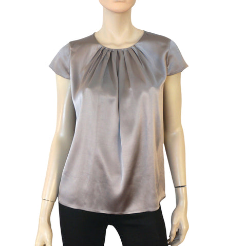 VINCE Gray Silk Charmeuse Pleat Neck Blouse Top XS