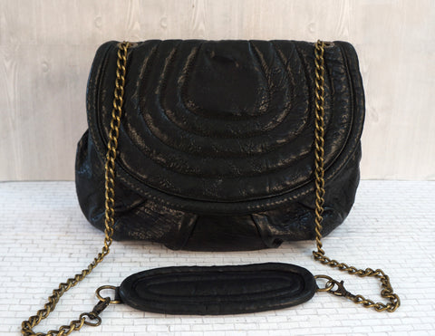 MALABABA Large Black Leather Crossbody Shoulder Chain Strap Bag New