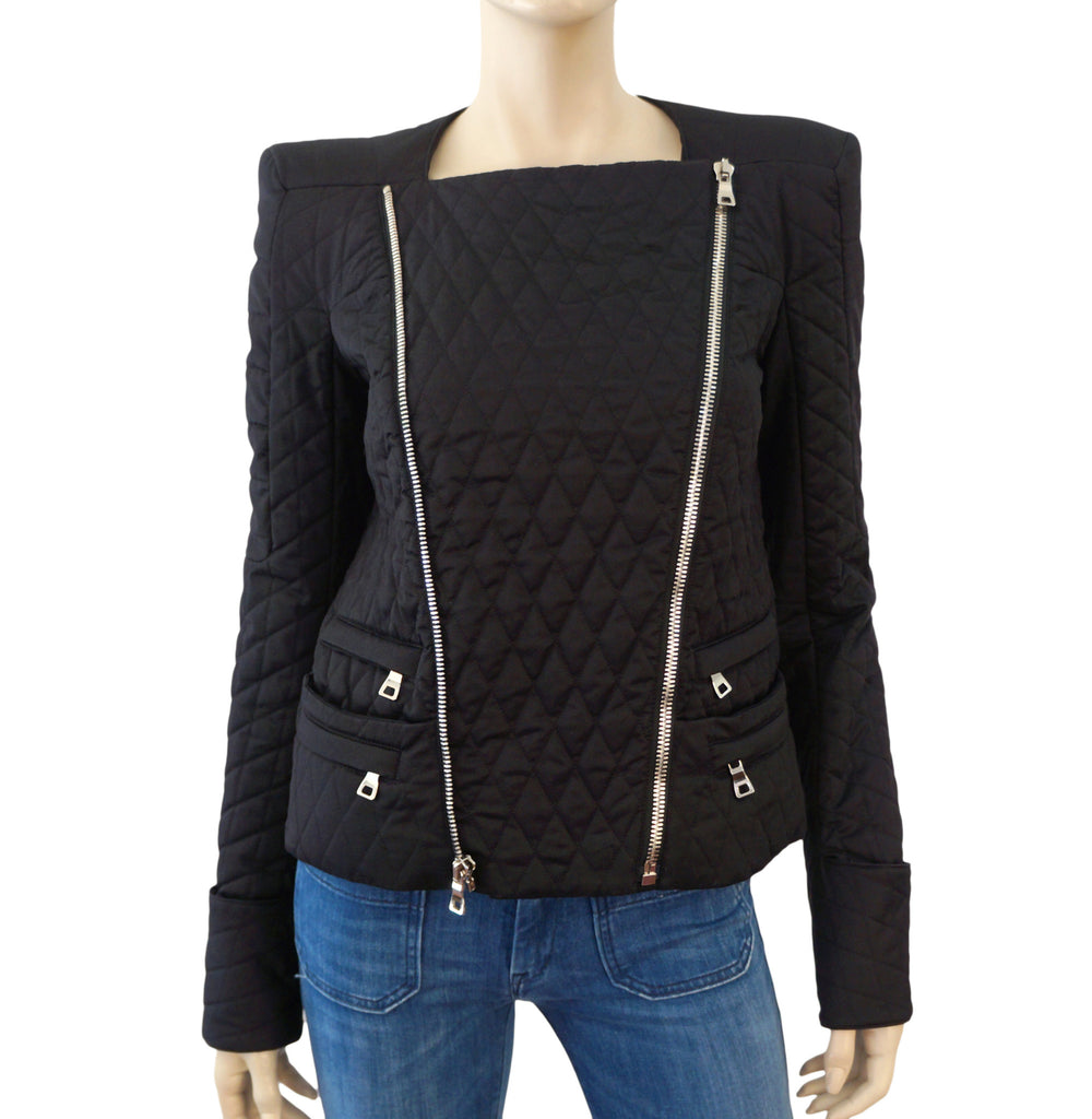 BALMAIN Quilted Cotton Biker Jacket, FR 38 / US 4