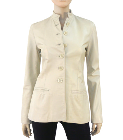 RACHELLE Ivory Bone Leather Banded Collar Military Button Jacket 4