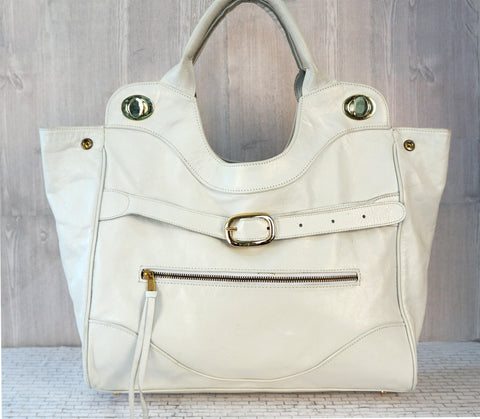 FOLEY & CORINNA White Leather Jet Set Tote Satchel Bag