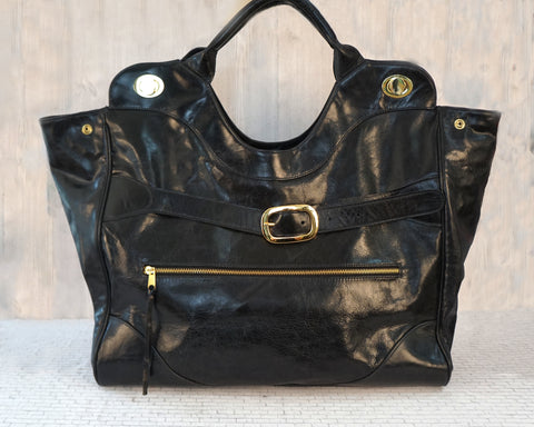 FOLEY & CORINNA XL Black Leather Jet Set Tote Satchel Bag