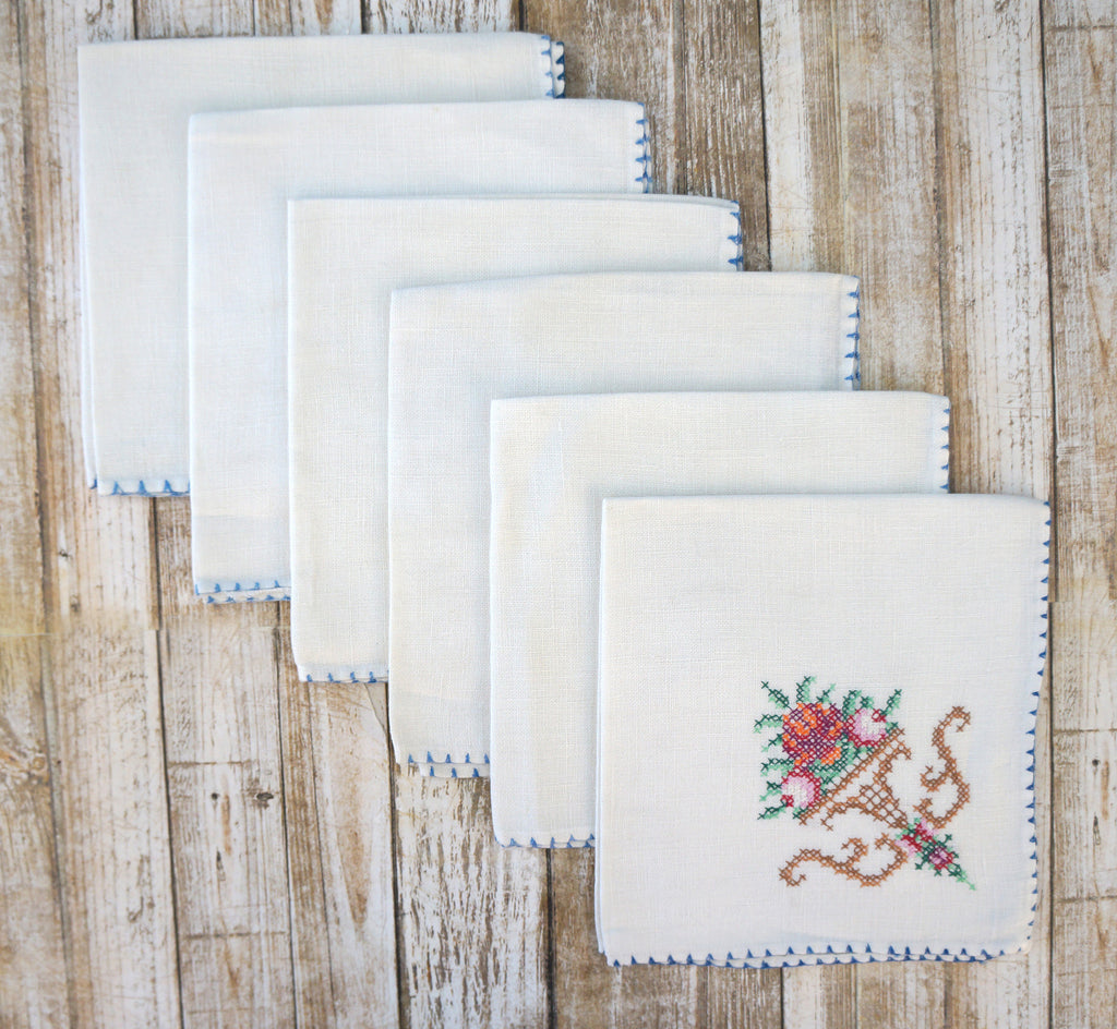 6 Vintage Embroidered Linen Tea Napkins