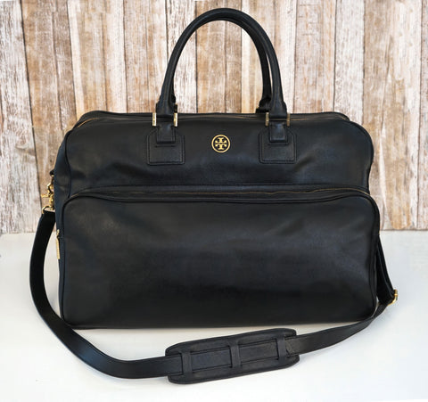 TORY BURCH Robinson Black Saffiano Leather Weekend Travel Bag