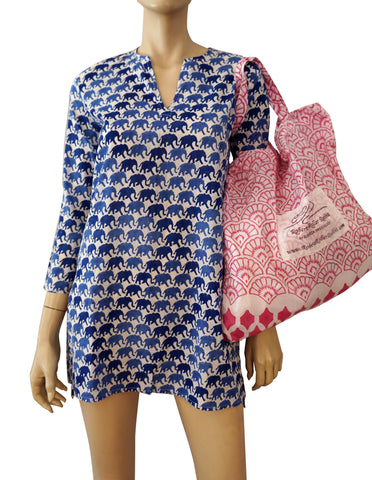 ROBERTA ROLLER RABBIT Pink and White Shell Print Cotton Tote Bag