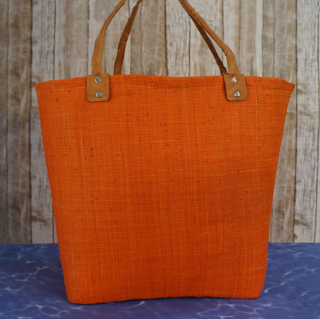 ORANGE RAFFIA XL Leather Handle Beach Bag Tote Made in Italy
