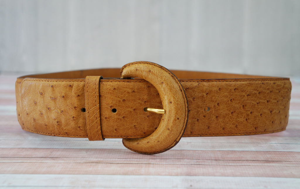 VINTAGE Ostrich Leather Waist Belt Ostrich Buckle Butterscotch Brown XS/S