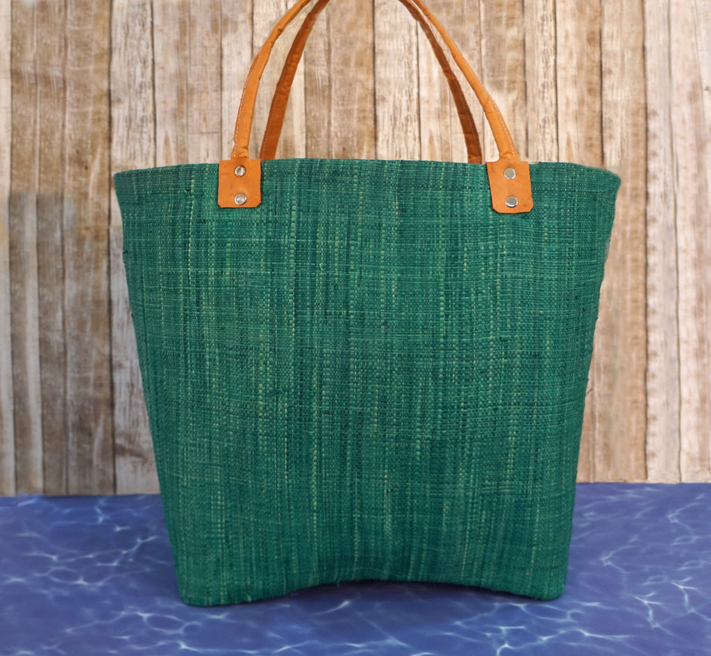 TEAL RAFFIA XL Leather Handle Beach Bag Tote Made in Italy